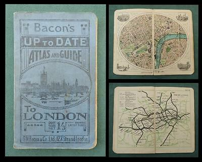 1918 BACON'S POCKET ATLAS & GUIDE to LONDON - Tube Map/ Street Maps/ Theatreland