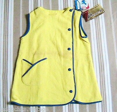 FRENCH 1960s GIRL SUMMER MINI SKIRT DRESS-SUNNY YELLOW TERRYCLOTH-NEW &TAG-3 yrs