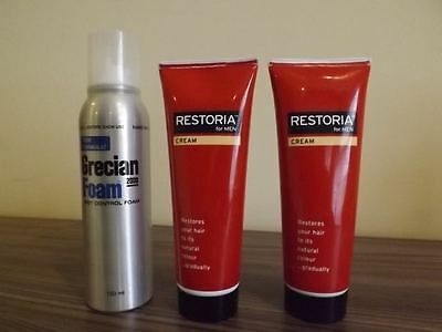 bundle Grecian 2000 foam AND 2 RESTORIA cream Thickens & Conditions Hair 2 new