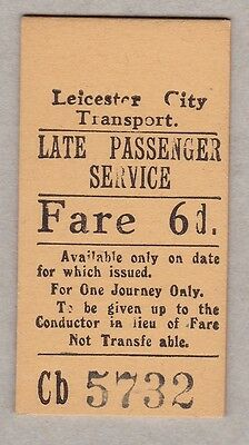 Leicester City Transport England Late Passenger Service Ticket / Fahrkarte (184)