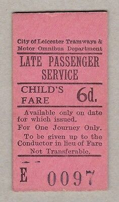 Leicester City Transport England Late Passenger Service Ticket / Fahrkarte (185)