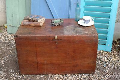 Large Antique Chest Rustic Coffee Table Solid Mahogany Storage Box Shabby Chic