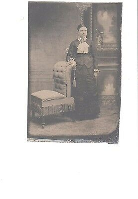 photo antique tintype beautiful woman leaning great chair dress not trimmed