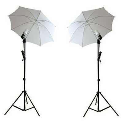 Ex-Pro Continuous Dual Photography Lighting kit 105w Stands & Umbrella - White