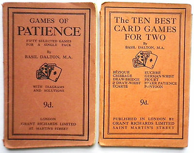 VINTAGE CARD GAME BOOKS x2-PATIENCE & CARD GAMES FOR 2-1920'S-GREAT CONDITION!!!