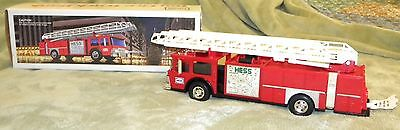 1986 Hess Red Fire Engine Aerial Ladder Truck Bank UNUSED In Box Very Nice