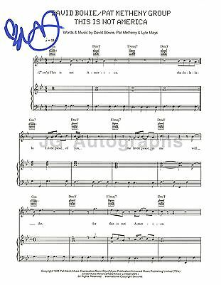 "Pat Metheny - Autographed ""This Is Not America"" Sheet Music - David Bowie"