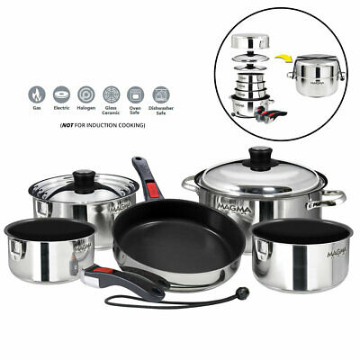 Magma A10-366-2 10pc Stainless Steel Nesting Cookware Non-Stick Boat Home RV