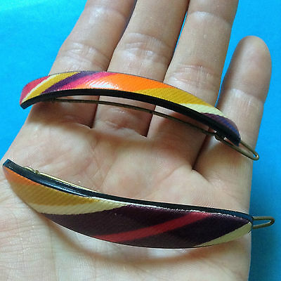 FRENCH 1960s MULTICOLORED MOD HAIR BARRETTES - TWIGGY STYLE - LOT OF 2 - NEW