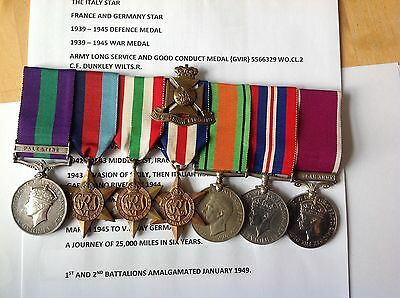 superb Palestine / ww2 long service group warrant off dunkley, 2nd Wiltshires.
