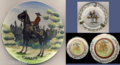 RCMP Mounted Police Ashtray Porcelain Plates Banff Jasper Alberta Canada 1950 60