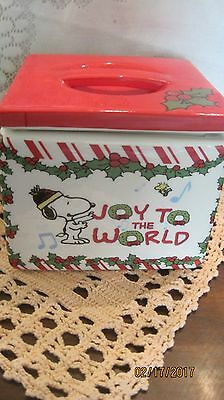 Gibson Ceramic Peanuts AND SNOPPY Christmas Snack/Cookie Jar