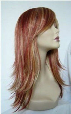 WJIA38  2015 new style Long red mix blonde hair wigs for modern women wig
