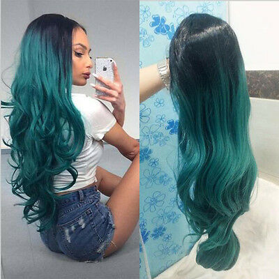 """24""""  Long wavy  Black And Grass Green Lace Front Wig Heat Resistant"""