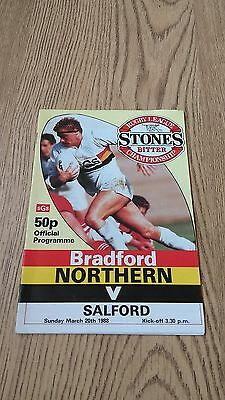 Bradford Northern v Salford March 1988 Rugby League Programme