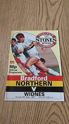 Bradford Northern v Widnes Sept 1987 Rugby League Programme