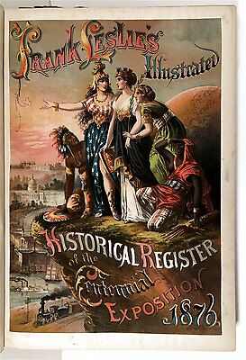 1876 Centennial Exposition Register With Fantastic Chromolithograph Frontis