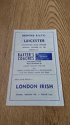 Bedford v Leicester 1969 Rugby Union Programme