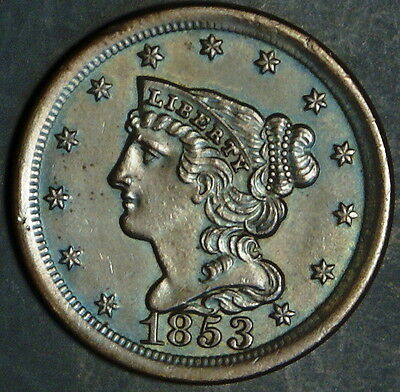 1853  Half Cent - Braided Hair  Grade Bu+  *as Pictured*  Inv 101