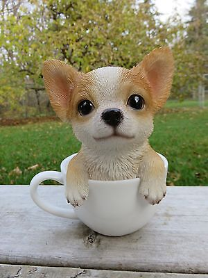 """Chihuahua Puppy Dog Figurine In Teacup Statue Resin Pet 6"""" H Ornament New"""
