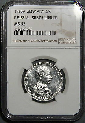 1913A Germany 2 Mark Prussia Silver Jubilee Coin  Ngc Ms 62   Inv 398