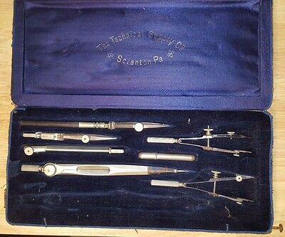 Antique Drafting Tool Set Compass Dividers Technical Supply Company Scranton PA.