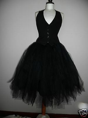 womens tutu skirt 16 long black adult rockabilly goth prom wedding Whitby tulle