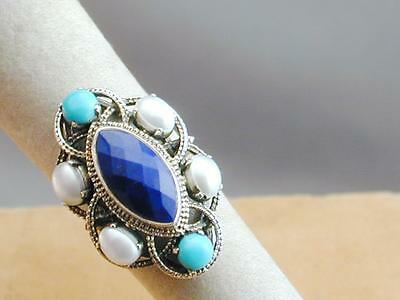 Nicky Butler Faceted Lapis Pearl & Turquoise Sterling Ring 7 NWOB