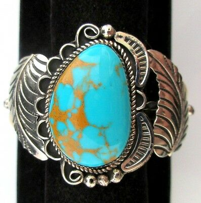 Navajo Silver and Turquoise Bracelet/Cuff Native American Signed CLEVELAND *844