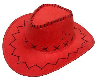 RED COLOR SOFT LEATHER STYLE WESTERN COWBOY HAT cowgirl unisex HEAD WEAR NEW CAP