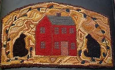 CATS ABOUT THE HOUSE  Primitive Rug Hooking Kit with cut wool fabric strips