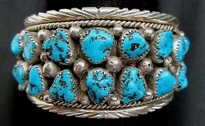Vintage Old Pawn Navajo Silver and Turquoise Bracelet/Cuff Native American *392