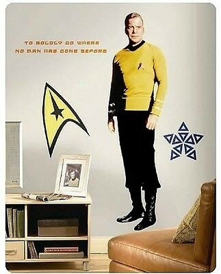 Star Trek Captain Kirk Giant Size Wall Mural Reusable Decal Stickers + 8 Extras