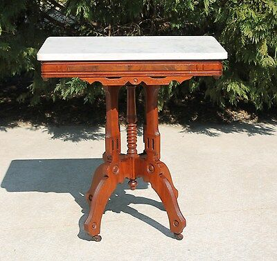 Eastlake Victorian Walnut & Burl Marble Top Lamp Parlor Side Table c1880