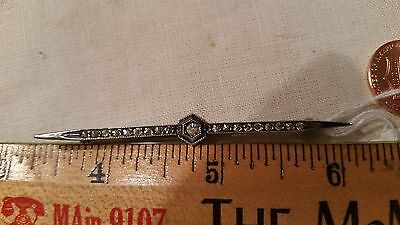 3 inch white faux diamond sterling silver bar pin vintage old older 3$shp
