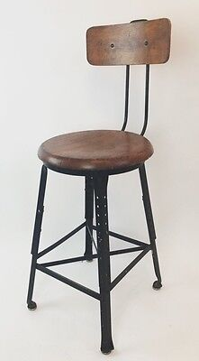 Vintage Steampunk Industrial Metal Wood Factory Drafting Stool