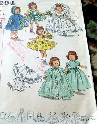 """GREAT VTG 1950s 8"""" DOLL CLOTHING SEWING PATTERN"""