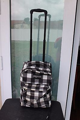 JanSport Backpack Rolling Wheels Bag Checkered Print Black White Gray LUGGAGE