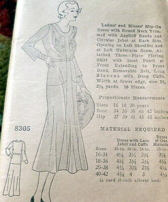 RARE VTG 1930s DRESS Sewing Pattern BUST 38 OLD DEADSTOCK