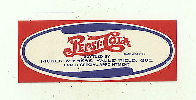 US/Canada Sticker Pepsi bottles by Richer &Frere Valleyfield Que special appoint