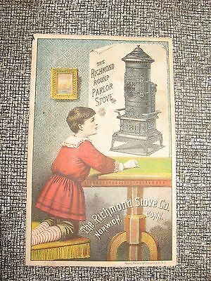 Victorian Trade Card The Richmond Stove Co -- Round Parlor Stove