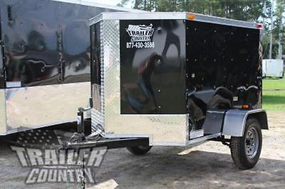 NEW 2017 4x6 4 x 6 V-Nosed Enclosed Cargo Motorcycle Bike Trailer