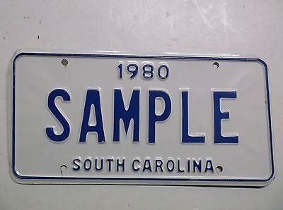 1980 South Carolina SC SAMPLE License Plate Auto Tag NEW OLD STOCK Gas Oil Cars