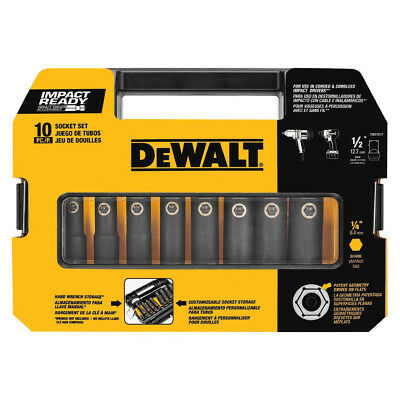 DeWalt DW22812 10 Piece 1/2 in. SAE Drive Impact Ready Socket Set New
