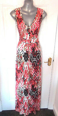 ❤ SOON Gorgeous Ladies Size 14 Pink Brown Black Mix Stretchy Long Dress