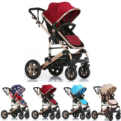 New Red Luxury Baby Stroller High Landscape Pram foldable pushchair USA Shipping