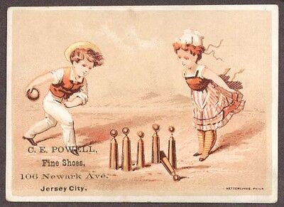 CE Powell Shoes Jersey City trade card children bowling