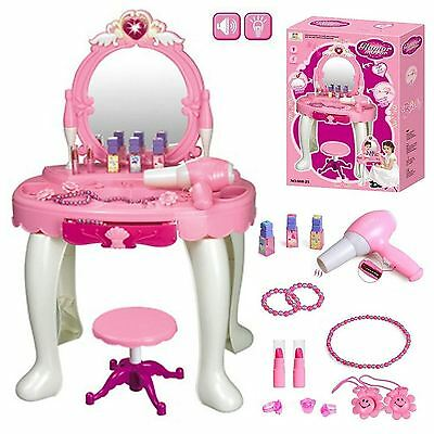 Girls Dressing Table Toy Role Play Glamour Beauty Makeup Vanity Stool Gift Set