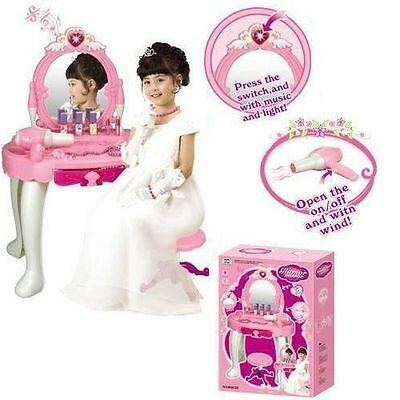 Girls Glamour Mirror Dressing Table Mirror Play Set Kids Makeup Game Toy Pink UK