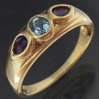 Lg Size Dynamic AMETHYST & Blue TOPAZ 9ct Solid Yellow GOLD ETERNITY RING Sz U